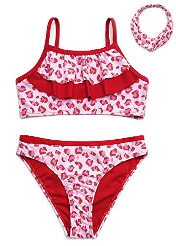 SHEKINI Bikini de Tres Piezas para Niñas Conjunto de Diadema Correas Espaguetis con Volantes Bikini de Cintura Baja Pantalones Traje de Baño de Leopardo Dulce Bikini (Rosado, 8-10 años)