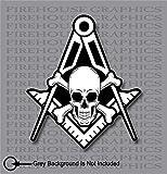 Skull and Cross Bones Square Compass Mason Masonic Freemason Decal Sticker (2 Pack 2')