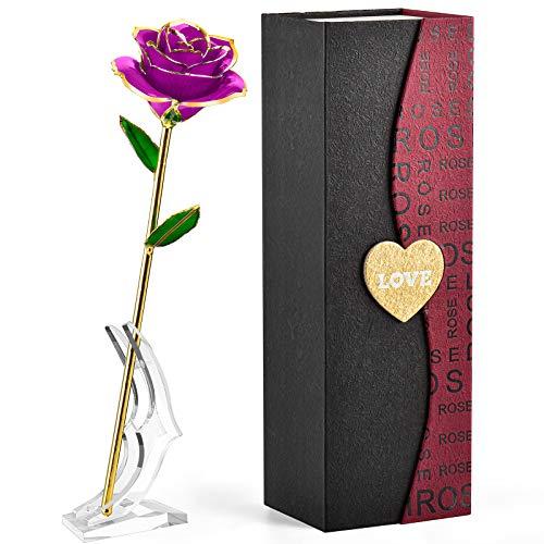 FORGIFTING Rosa Eterna, Regalos Originales para Mujer, Regalos Cumpleaños Aniversario, Regalos Navidad San Valentin, Rosa Sant Jordi, Dia de la Madre Regalos para Mama - Flor Rosa de Oro 24K (Púrpura)