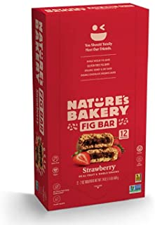Nature's Bakery Whole Wheat Fig Bars, Strawberry, Real Fruit, Vegan, Non-GMO, Snack bar, 1 box with 12 twin packs (12 twin...