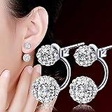 Sparkly Earrings for Women Girls Fashion Romantic Glittering Stud Earrings Gift(Silvery)