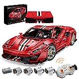 Yovso Technik Auto Ferngesteuert für Ferrari 488 Pista, 3187 Klemmbausteine CADA C61042w Technik Bausteine 2.4Ghz RC Supersportwagen, Kompatibel mit Lego Technic