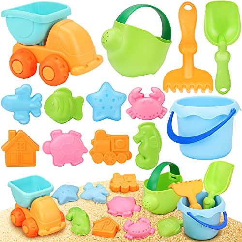 YIMORE Beach Toys for Toddlers Soft Material Truck Molds with Mesh Bag Sand...