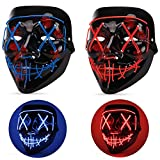 Halloween Mask LED Light up Mask (2 Pack) Scary mask for Festival Cosplay Halloween Costume Masquerade Parties,Carnival