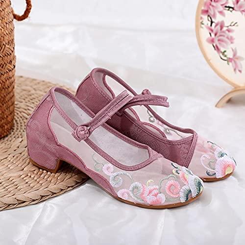 LGYKUMEG Vintage Chinesische Blumen Bestickte Schuhe, Frauen Wohnungen Tanzschuhe, Weich, Atmungsaktiv, Leicht, rutschfeste Sehnensohle,Rosa,EU41