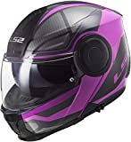 LS2 - Casco Modular para Moto Scope Axis, Color Negro y Rosa, Talla XXL