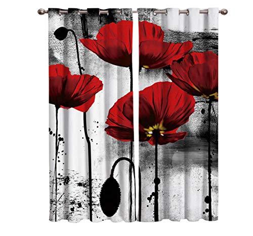 ZYWGG Gardinen Verdunklungsgardine Rote Mohnblumen 2 Stück Verdunkelungsvorhänge Mit Ösen Vorhänge Blickdicht Kälte- Und Wärmeisolierung 220 * 215Cm