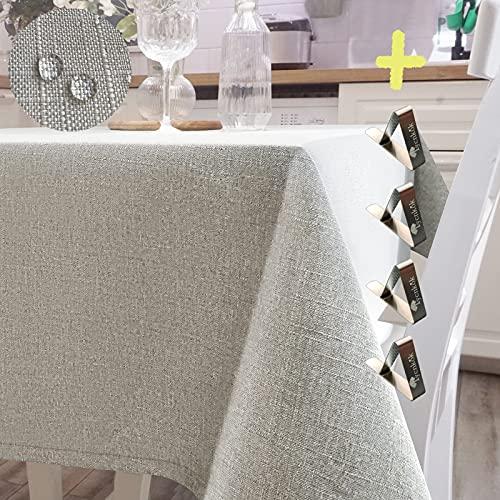 Iycnkok Mantel Antimanchas Rectangular Manteles Mesa Impermeable Tela 140x300 Lavable Efecto Lino Beige, 4 Pinzas Incluidas,...