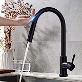 BFLOF grifo de cocina Pull Out Sensor Black Kitchen Faucet Sensitive Touch...
