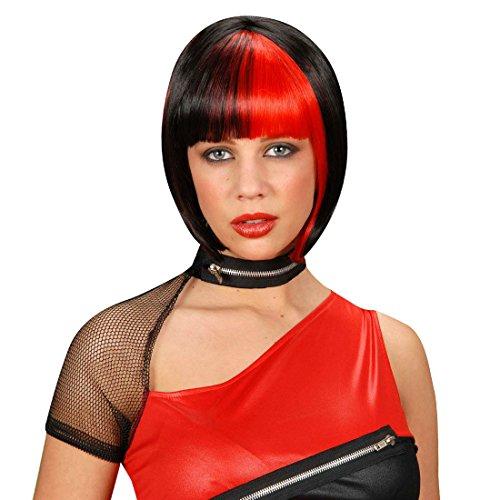 NET TOYS Perruque Carnaval Femme Zoé Rouge-Noire Perruque de Femme Vamp Gothique