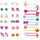 Wenhui's wisdom product 12 Pairs Cute Unicorn Animal Earrings, Hypoallergenic Earrings Set for Kids, Girls Colorful Cute Stud Earrings and Colorful Hair Clips,Best Gift …