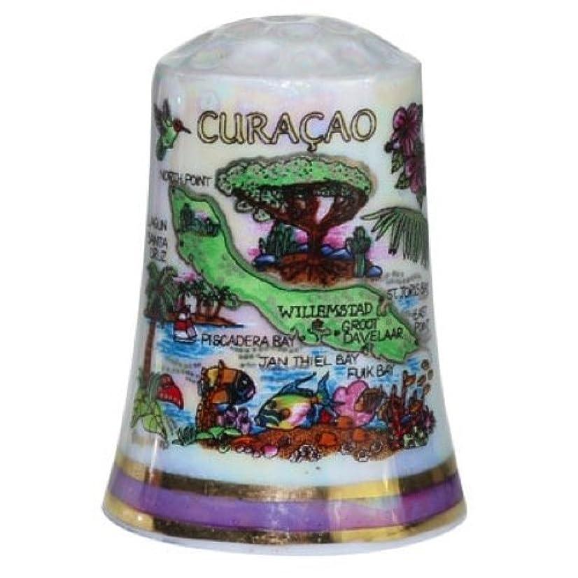 Curacao Caribbean Map Pearl Souvenir Collectible Thimble agc