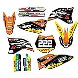 Motocross Equipo gráfico Adhesivos Pegatinas DECOS Kits for KTM SX65 SX 65 2009 2010 2011 2012 2013 2014 2015 65 SX (Color : Gold)