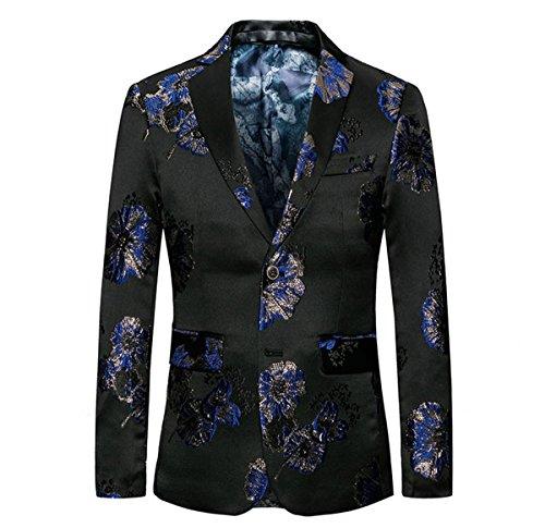 Youthup Floral Blazer voor heren, zwart, voor vrije tijd en party