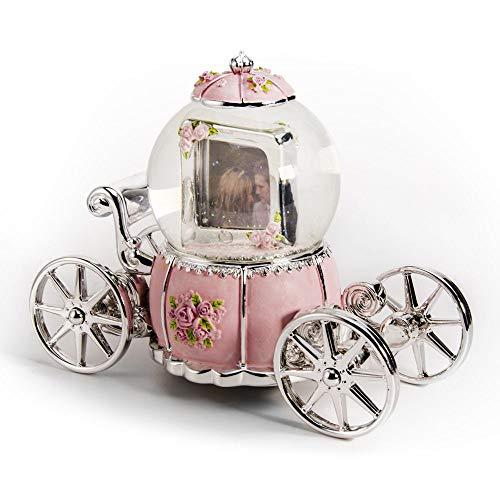 MusicBoxAttic sprookje roze en zilver pompoen vervoer met fotolijst waterbol - meer dan 400 liedjes keuzes