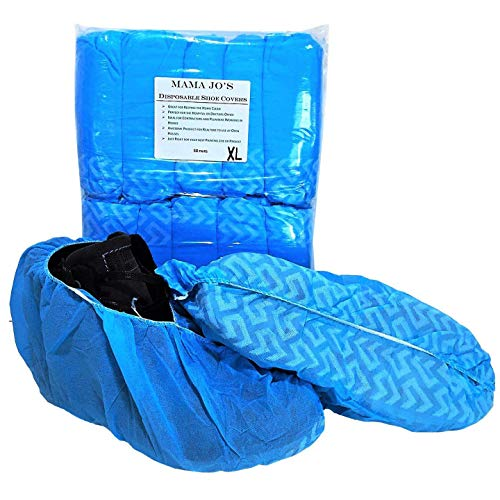 MAMA JO'S Premium XL Disposable Shoe Boot Covers | Durable, Extra Large, Indoor Outdoor Booties for Home and Work (100 - Per Pack) Fits Sizes 5-15