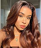 XSZM 13X6X1 Ombre Brown Body Wavy Lace Front Human Hair Wigs Pre Plucked 150% Density Glueless Virgin Hair 1B/30# Body Wave T Type Lace Wig for Black Women Middle Deep Part Hairline(14 Inch)