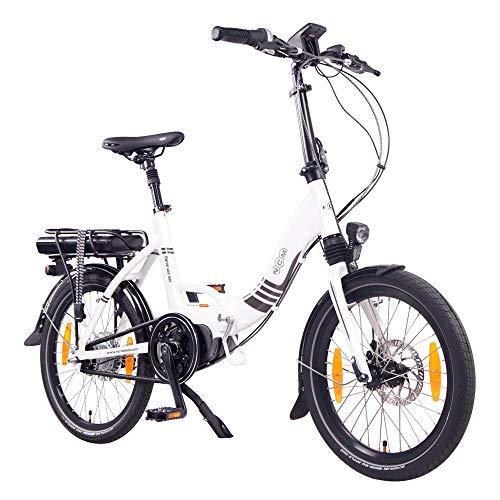 "NCM Paris Max N8R / N8C Bicicletta elettrica Pieghevole, 36V 14Ah 504Wh Batteria, 20"" (Bianco con Freno a Rullo (N8R))"