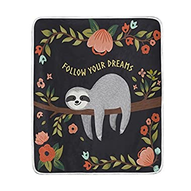 ALAZA Home Decor Cute Sloth Follow Your Dreams Floral Print Soft Warm Blanket for Bed Couch Sofa Lightweight Travelling Camping 60 x 50 Inch Throw Size for Kids Boys Women