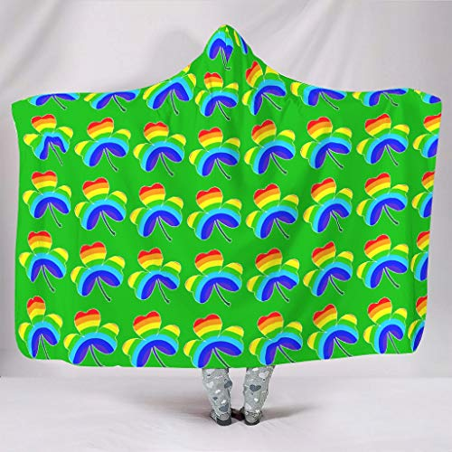 Wandlovers super zacht met capuchon plafond groen Ierse klaverblad regenboog klaverblad druk fleece gezellig gordijn van de waaiers bank