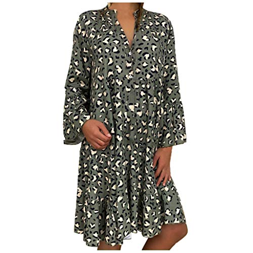 Women Ladies Plus Size Loose Print Long Sleeve V-Collar...