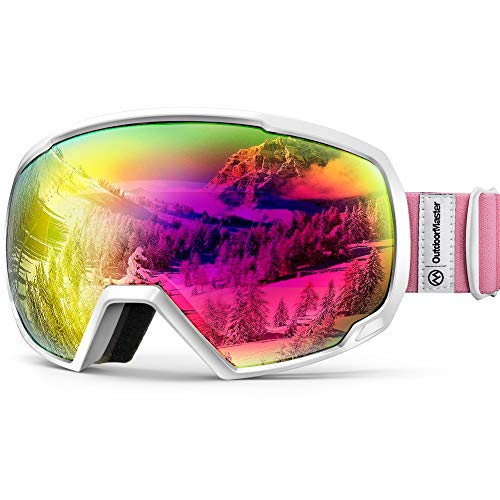 OutdoorMaster Unisex Skibrille für Damen und Herren, Snowboard Brille Schneebrille OTG 100{fdab91aeadc09848c4bcf1782b2cb6e7ba023e2118551b668038beb20fda0fa2} UV-Schutz Skibrille für brillenträger, Anti-Nebel Snowboard Brille Ski Goggles für Jungen