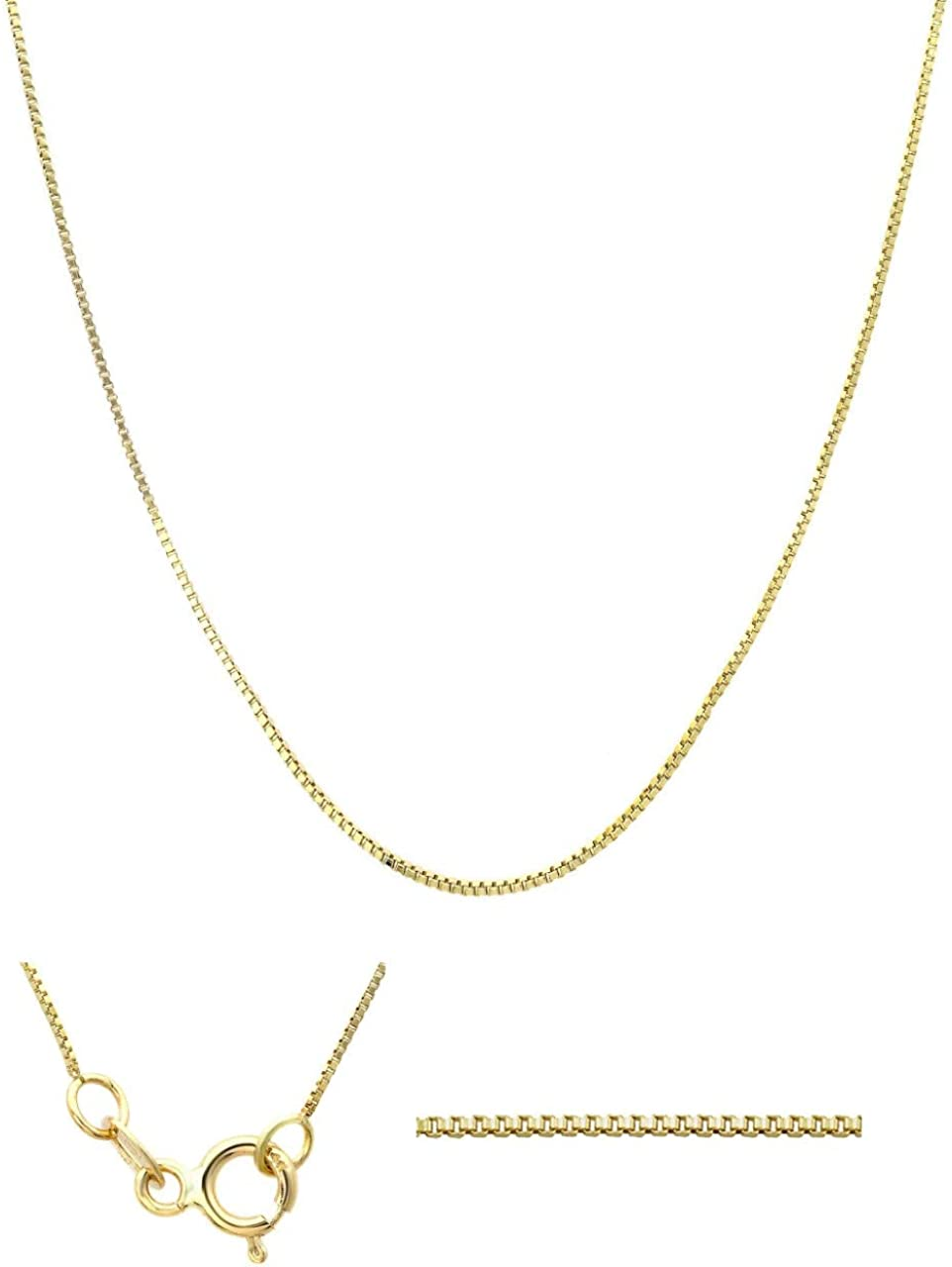 Olivia New Free shipping on posting reviews York 14k Solid Box Necklace Sale price Spring-Clasp Gold Chain