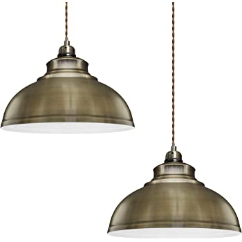 2 X Modern Vintage Antique Brass Pendant Light Shade Industrial Hanging Ceiling Light Ideal For Dining Room Bar Clubs Restaurants Amazon Co Uk Lighting