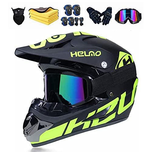 Motocross Helm Kinder,Motorrad Crosshelm Set mit Brille Motorrad-Knieschützer und Ellbogenschützer,MTB Helm ATV Cross Helm Downhill Helm für Jugendliche (S 54-55CM)