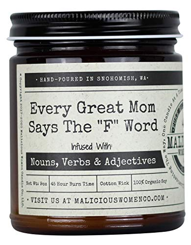 Malicious Women Candle Co - Every Great Mom Says The F Word, Espresso Yo' Self Infused with Nouns, Verbs & Adjectives, All-Natural Organic Soy Candle, 9 oz