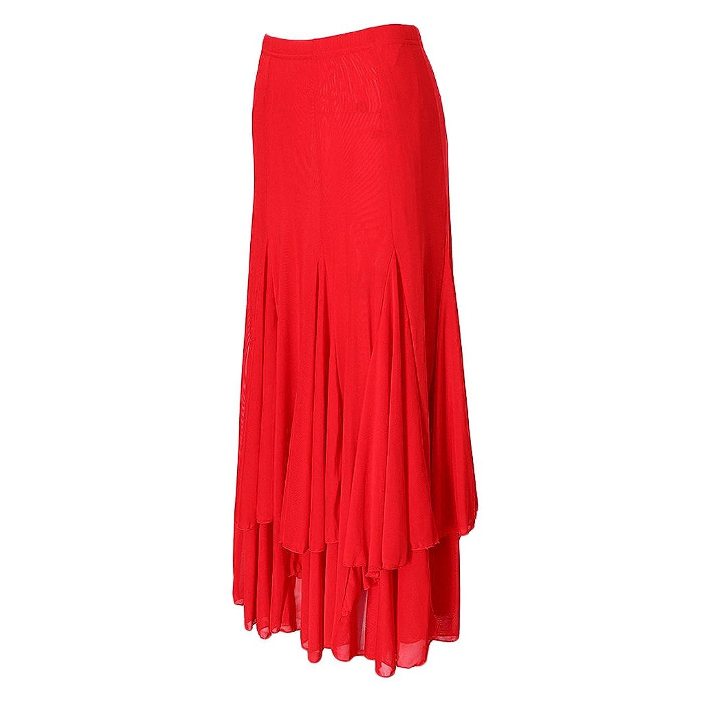 ステレオタイプ人柄不機嫌スカート ダンスドレス スイングスカート ダンス ドレス ラテン サルサ タンゴ チャチャ フラメンコ モダンボールルーム 3色選べ - 赤