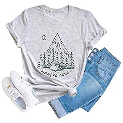 Anbech Camping Hiking Shirts Women Vintage Nature Graphic Tee Travel T-Shirt Summer Outfits Grey