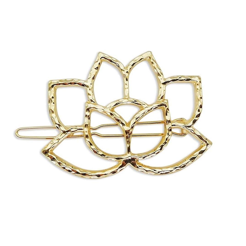 セッティングミトンささいなToporchid 女性用ヘアクリップ、レトロ中空ロータスヘアピンヘッドウェア用アクセサリー(ゴールド)