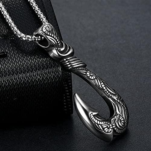 Vikingo 3D Pez Gancho De Ancla Colgante Collar para Los Hombres Acero Inoxidable Hecho A Mano Víspera de Todos los Santos Amuleto Joyas,Plata,65cm(26in)