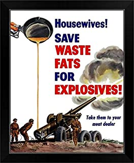 CANVAS ON DEMAND World War II Poster of Grease from a Frying pan Being Poured into a Firing Artillery Gun Black