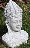 Skulptur Gartenfigur Beton Figur Buddha Büste H 29 cm Dekofigur Gartenskulptur