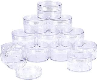 BENECREAT 12 Pack (50ml) Vacio Recipiente de Almacenamiento plastico Transparente con Tapas de Rosca para Cuentas,Brillo,Maquillaje,cosmeticos y Crema