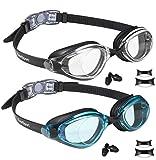 EverSport Swim Goggles, Pack of 2, Swimming Glasses for Adult Men Women Youth Teens, Anti-Fog, UV Protection, Shatter-Proof, Watertight (Black & AquaBlue)