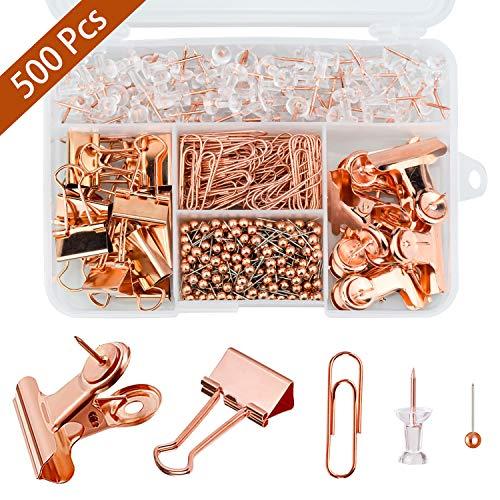 500 Stück Rose Gold Büromaterial Set Rosegold Push Pins, Karte Tacks Push Pins, Rosegold Büroklammern, Foldback Klammern, bulldogge büroklammern mit Kunststoffboxen für Büro Schule Heimbedarf