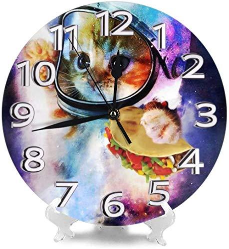 AZHOULIULIU Co.,ltd Gato Astronauta Relojes de Escritorio Decoración silenciosa para Garaje Den Personalidad precisa