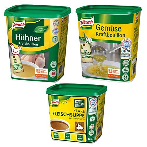 Knorr Notvorrat Lebensmittel: Knorr klare Fleischsuppe, Hühnerbrühe und Gemüse Kraftbouillon 1 kg