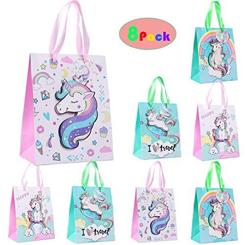 Shinelee 8 Piezas Bolsas Regalo Cumpleaños Unicornio Bolsos de Papel Fiesta Unicornio Infantil