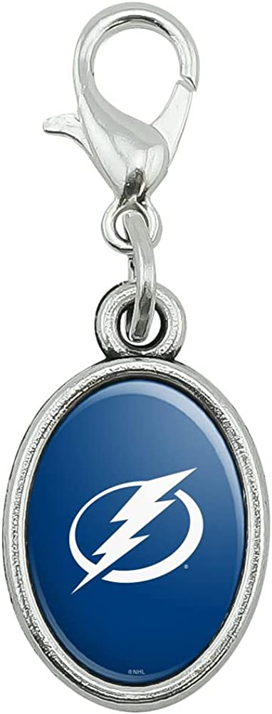 Tampa Bay Lightning Logo Antiqued Bracelet Pendant Zipper Pull Oval Charm with Lobster Clasp
