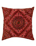 GANESHAM Handicraft - Indian Bedroom Decor Cotton Pillow Cover, Bohemian Throw Pillow Insert Hand Embroidered Decorative Mirror Work Boho Sofa Pillow Home Decor Handmade Cushion Cover,(16x16) inch