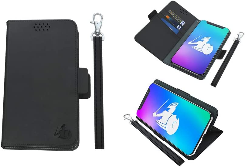 DefenderShield Universal EMF Protection + 5G Radiation Blocking Cell Phone Case - RFID Blocker Detachable Magnetic Wallet Cover w/Wrist Strap (Black, Large - Up to 6.5