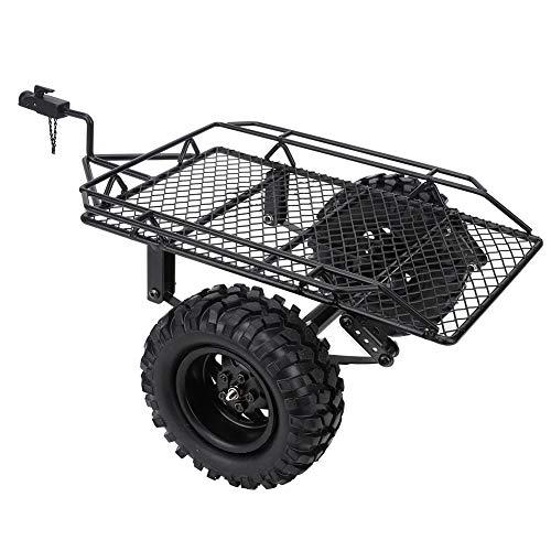 Remolque basculante RC, remolque de metal para trabajo pesado con oruga RC, remolque de cubo de metal RC, coche de remolque de simulación para TRX4 D90 SCX10 CC01 1/10, piezas de bricolaje(neg