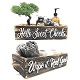 Hello Sweet Cheeks Bathroom Decor Box - Rustic Farmhouse Wooden Toilet Paper Holder - Dual Side Cut Out Lettering - Free Standing Decorative Bathroom Storage Box for Organization