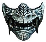 ZYuan Halloween Airsoft Half Face Masks, Evil Demon Monster Kabuki Samurai Hannya Oni Máscaras Protectoras de Media Cara para Baile de máscaras, Fiesta, Halloween, Juego de Guerra CS