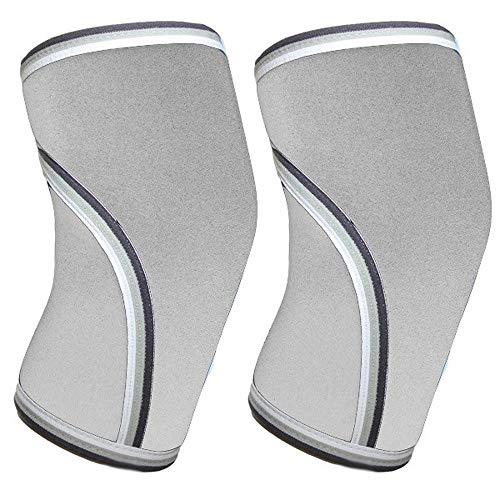 Schutzbekleidung Atmungsaktiv 7mm Neopren-elastische Knie Unterstützung Kalb-Bein-Hülsen Gewichtheben Knieklammer-Schutz-Sport Compression Knieschützer JFCUICAN ( Color : Grey , Size : L )