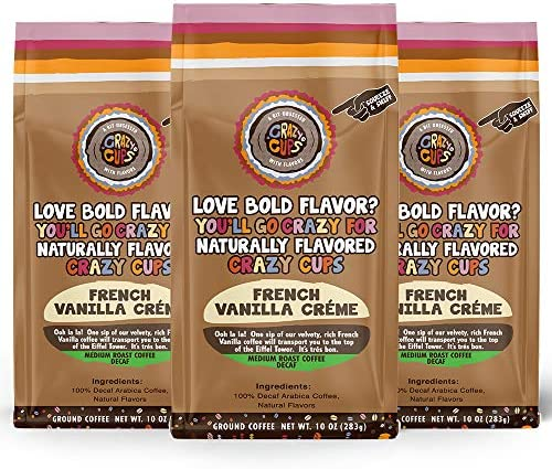Crazy Cups Decaf Flavored Ground Coffee French Vanilla Cr me in 10 oz Bags For Brewing Flavored product image